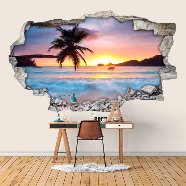 Vinyl tramonto 3D sulla spiaggia Italian 6007