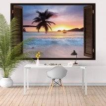 Windows in vinyl tramonto sulla spiaggia 3D