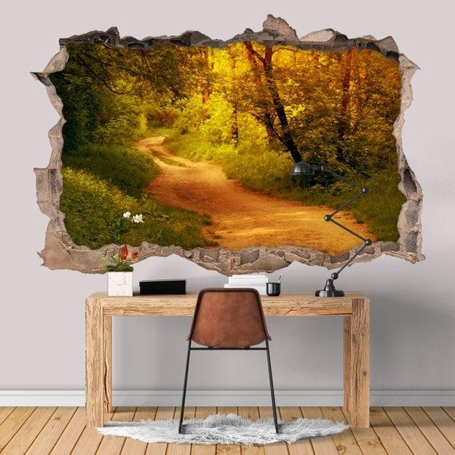 Strada di parete 3D hole vinile nella foresta