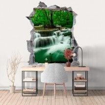 Natura di vinile foro parete 3D cascate