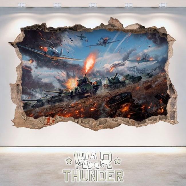 Vinile decorativo 3D Thunder serbatoi di battaglia di guerra