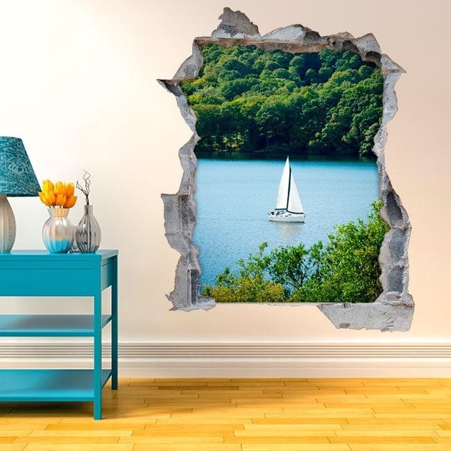 Barca a vela decorativa di vinile sul lago 3D