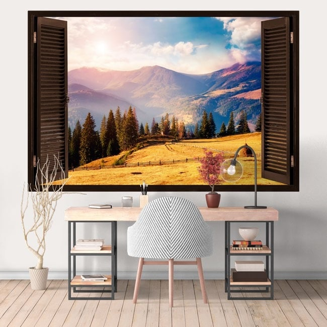 Finestre in vinile 3D sole in montagna