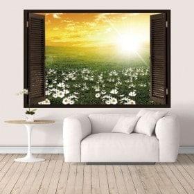 Vinyl tramonto 3D di windows nel campo