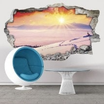 Montagne ricoperte neve tramonto 3D vinile decorativo