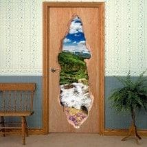 Vinili per porte ruscello 3D in montagna