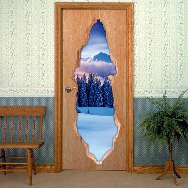 Vinili per 3D montagne innevate porte
