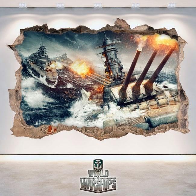 Vinile decorativo 3D mondo di navi da guerra