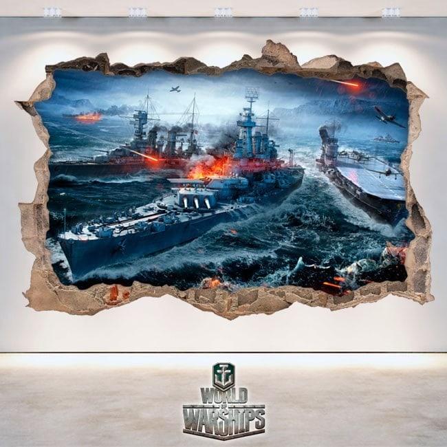 Vinile e adesivi 3D mondo di navi da guerra