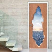 Tramonto sopra il vinile 3D porte di mare