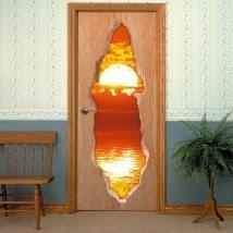 Tramonto di porte sopra il mare 3D per vinili