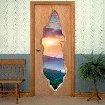 Tramonto di porte nelle montagne 3D per vinili