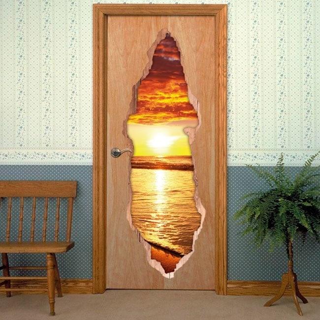 Vinili per porte Sunset Beach 3D