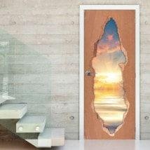 Tramonto di vinile 3D porte sul mare