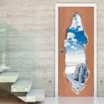 Vinile porta 3D montagne nevose