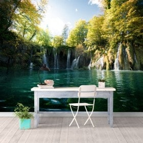 Cascate di murales muro foto dei laghi di Plitvice