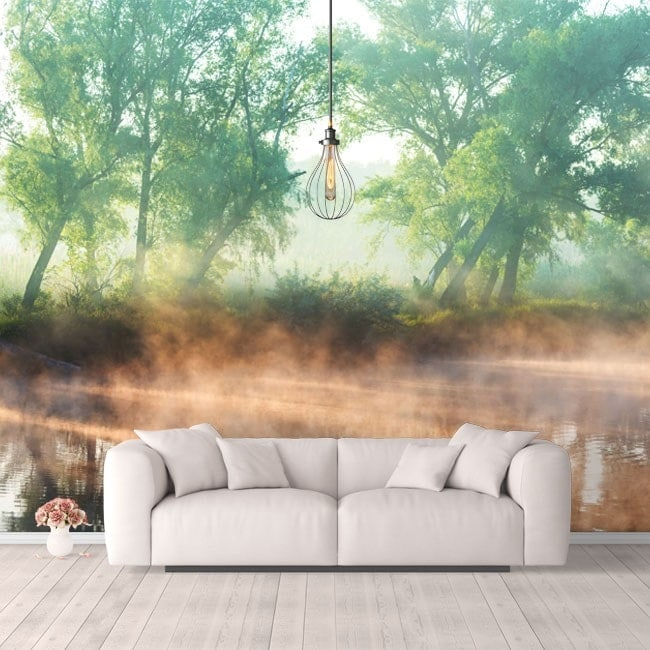 Tramonto di murales muro foto sul lago