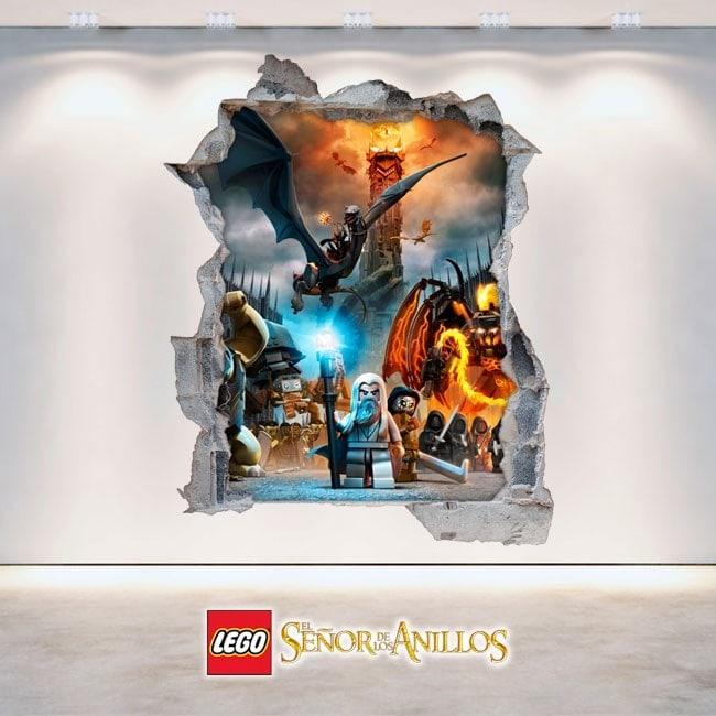 Vinile decorativo 3D Signore degli anelli Lego