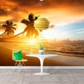 Foto muro murales tramonto palme sulla spiaggia