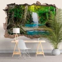 Adesivi e vynils cascate nella foresta 3D