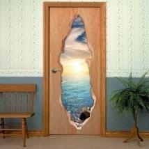Porte mare tramonto 3D per vinili