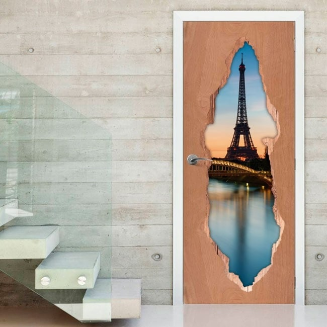 Vinile per porte 3D Parigi Torre Eiffel