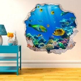Pesci nel vinile decorativo 3D mare