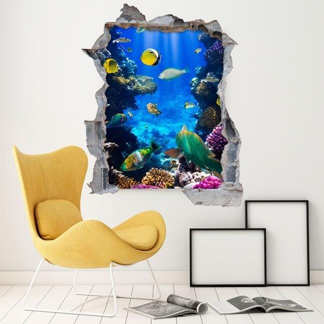 Il pesci decorativi in vinile sul reef 3D