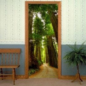 Vinile decorativo porta modo di sequoie