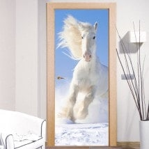 Vinile decorativo porte cavallo bianco neve