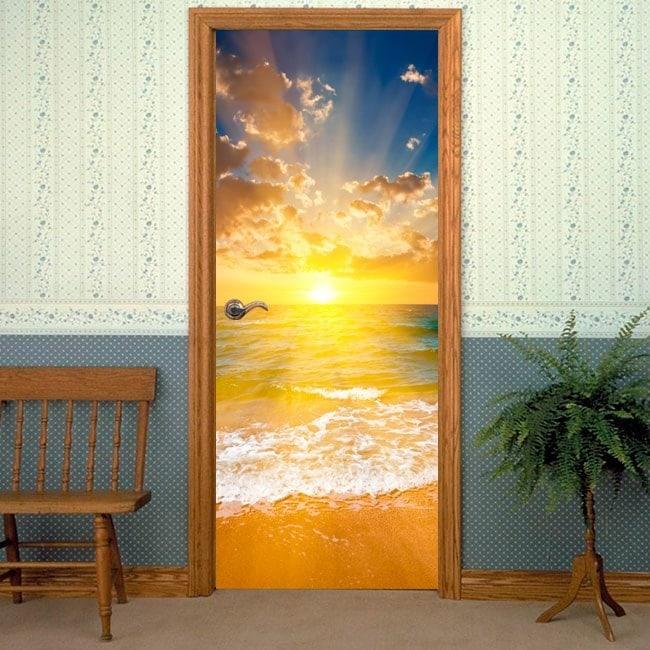 Spiaggia di porta vinile adesivo al tramonto