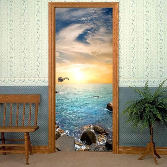 Vinile decorativo porta tramonto sul mare