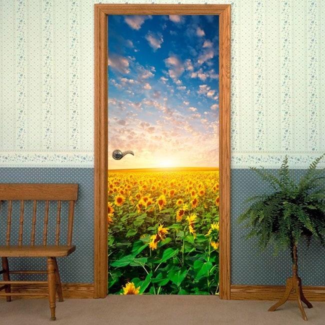 Girasoli di porte per vinyl tramonto
