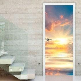 Vinile porta tramonto sul mare