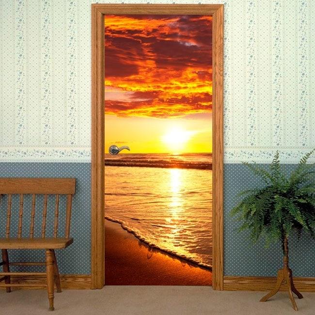 Vinile decorativo porte tramonto sulla spiaggia