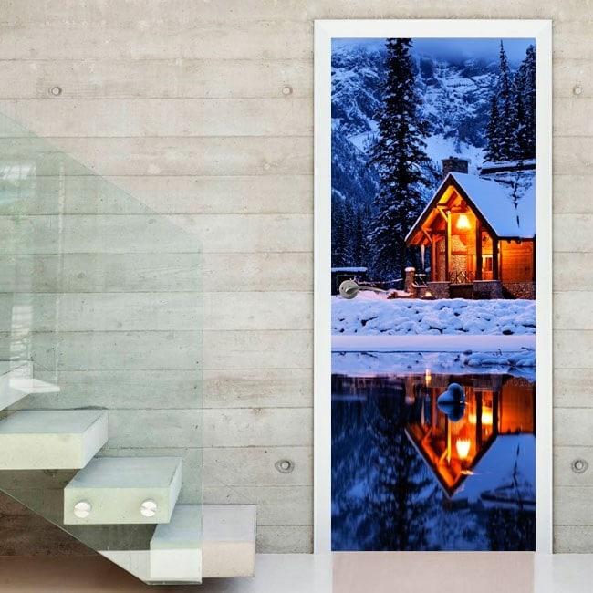 Porte Sticker murale Cottage In Inverno