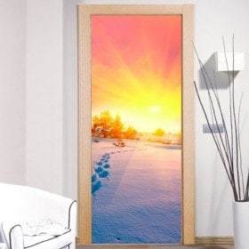 Wall Decal Snowy Mountains sunset Doors