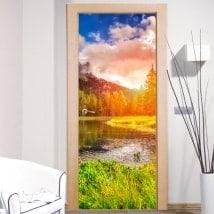 Vinile per porte tramonto nelle Dolomiti