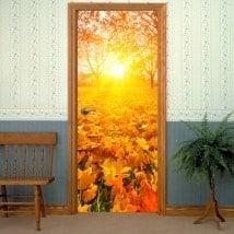 Vinile per porte al tramonto in autunno