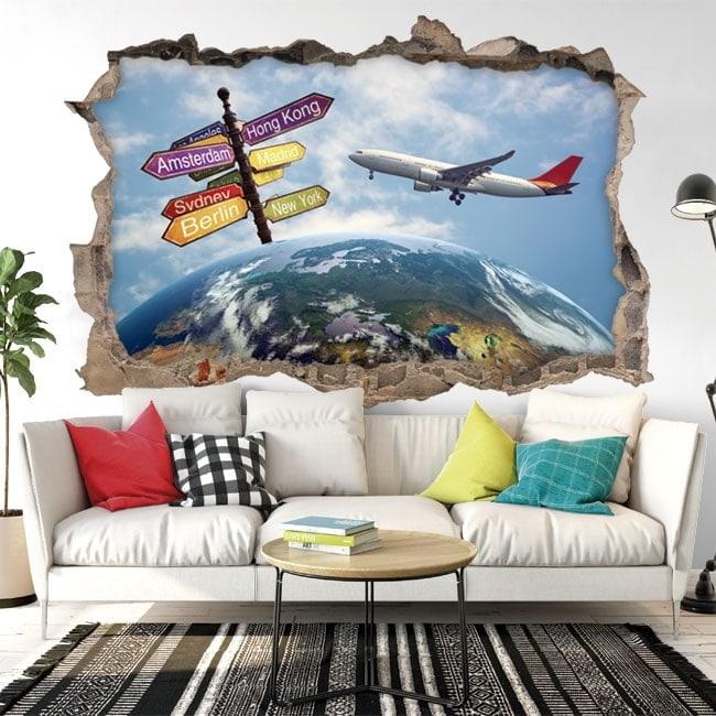 Adesivi da parete 3d viaggio in tutto il mondo for Adesivi parete 3d