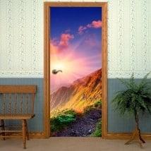 Adesivi per le porte tramonto montagne