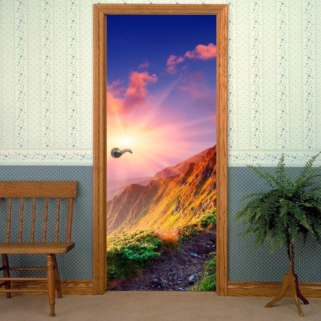 Adesivi per le porte tramonto montagne for Specchi adesivi per porte
