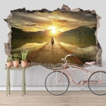 3D adesivi decorativi strada al tramonto