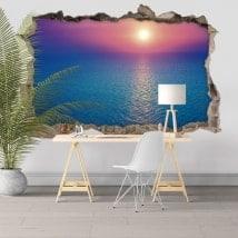 Adesivi decorativi 3D colori tramonto nel mare