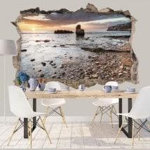 Vinile decorativo 3d alba costa mediterranea