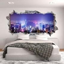 3D adesivi panoramici di Hong Kong