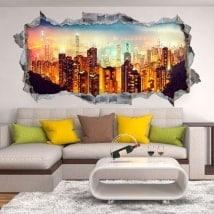 3D adesivi panoramici Victoria Harbour Hong Kong