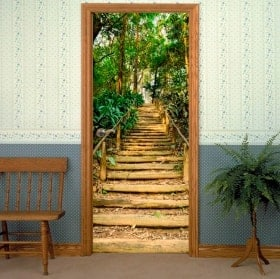 Vinile decorative porte scala nella foresta