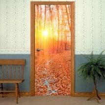 Vinili e adesivi per porte tramonto foresta