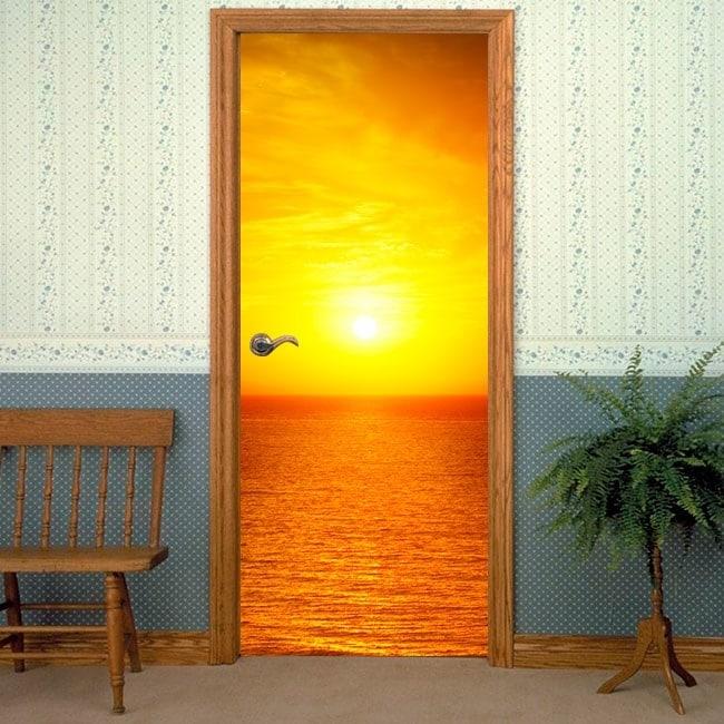 Vinile decorative porte tramonto mare